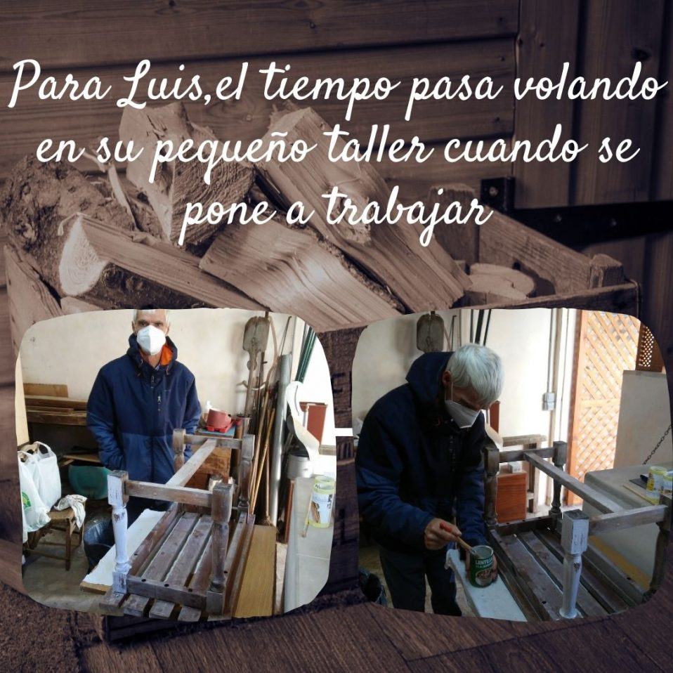Varias foto de persona trabajando la madera