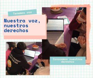 Collague niños trabajando
